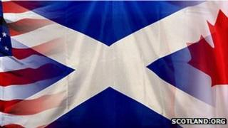 Composite of US, Saltire and Canadian flags