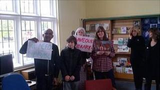 Protesters inside Friern Barnet Library