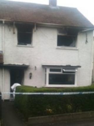 Fire-damaged house