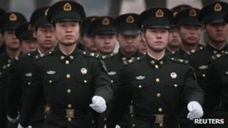 Soldiers from the Chinese People's Liberation Army