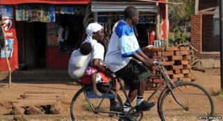 Malawian family on a bicycle