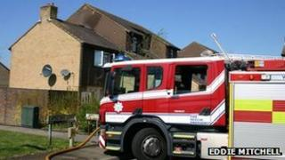 Fire engine in Capricorn Close, Crawley