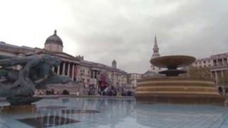 Water fountain in Trafalgar Square turned off
