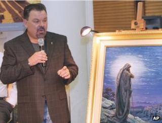 Thomas Kinkade unveils his picture Prayer For Peace in Atlanta, 2006