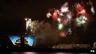 Fireworks over the Titanic building