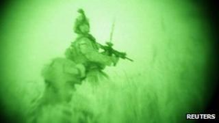 night-vision image of raid