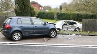 Crash scene at the A24 near Warnham