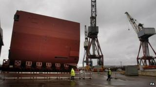 Hull section of the HMS Queen Elizabeth