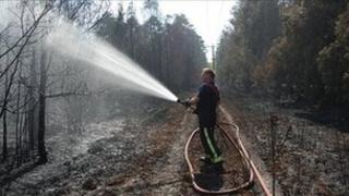 A firefighter at Swinley Forest