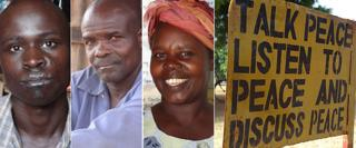 "LRA victim Geoffrey Obita (L), former LRA commander Genesis Atube (2nd L), head teacher Helen Amony Omono (C), and a sign a school in northern Uganda which reads: ""Talk peace, listen to peace and discuss peace"""