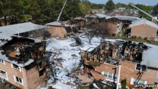 Apartment complexes in Virginia Beach, Virginia destroyed by a Navy jet crash 7 April 2012