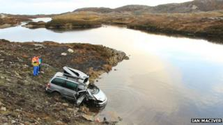 Car crashed at side of loch