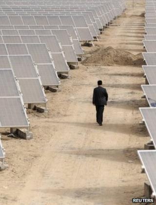 Man walking through a solar power array (Image: Reuters)
