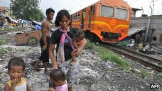 a squatter family walking along railway tracks in Jakarta running