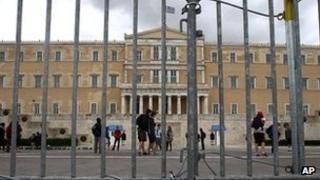 File picture of Greek parliament building in Athens
