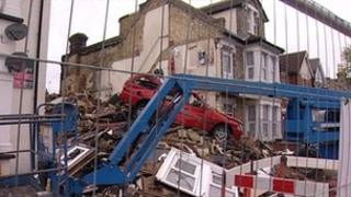 The house in Clacton which collapsed following a suspected gas explosion