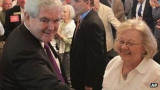 Newt Gingrich speaks to supporters in New Bern, North Carolina, 10 April 2012