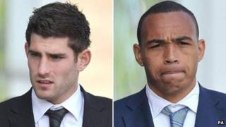 Ched Evans (left) and Clayton McDonald at Caernarfon Crown Court