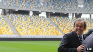 Uefa President Michel Platini after a press conference in the Arena Lviv stadium, 12 Apr 12