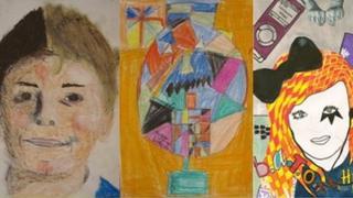 Children's self portraits from the Face Britain art project, pic courtesy of Juniper Pre