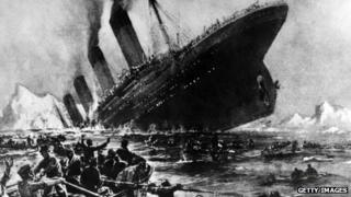 Engraving of the sinking of the Titanic