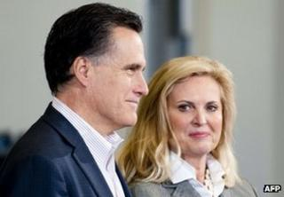Republican presidential hopeful Mitt Romney and his wife Ann in Youngstown, Ohio, on 5 March 2012