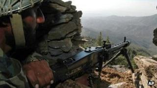File photo of Pakistani soldier on border with Afghanistan