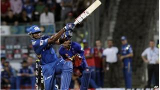 Kieron Pollard of Mumbai Indians plays a shot during the Indian Premier League (IPL) cricket match against Rajasthan Royals in Mumbai, India, Wednesday, April 11, 2012.