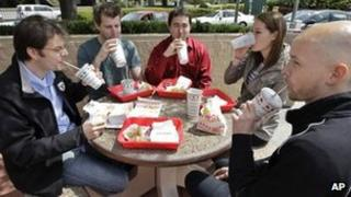 Employees take a lunch break together in Mountain View, California 12 April 2012