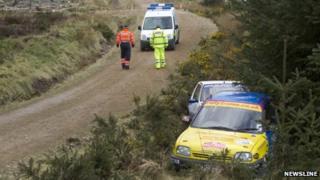 Crash scene at Granite City Rally