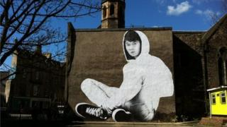 40ft image of the hoody-wearing teenage boy Pic: Gavin walker