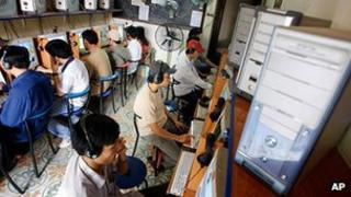 File photo (April 2006) of internet users in Vietnam