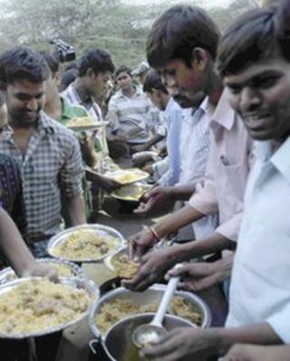 Dalit students eating beef biriyani at the Osmania University in Hyderabad