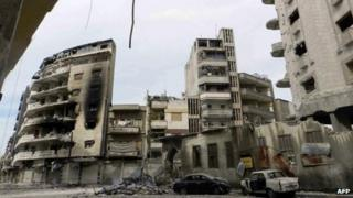 Bomb damaged Homs - 15 April. Picture supplied by opposition SHAAM NEWS NETWORK