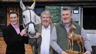 Jockey Daryl Jacob, owner John Hales and trainer Paul Nicholls with Neptune Collonges (left to right)