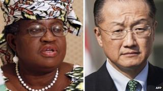 L: Nigeria's Finance Minister Ngozi Okonjo-Iweala; R: Jim Yong Kim
