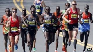 Elite male runners in the Boston Marathon, Boston, Massachusetts, 16 April 2012
