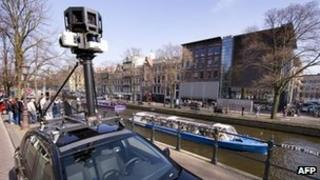 A Google Street View car in Amsterdam