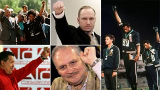 Clenched fist salutes by, clockwise from top left: Nelson and Winnie Mandela on his release from prison; Anders Behring Breivik in court; black athletes Tommie Smith and John Carlos at 1968 Olympics; Carlos the Jackal in court; Hugo Chavez