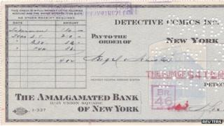 The original cheque for Superman, 17 April 2012