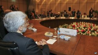 Iran's chief nuclear negotiator Saeed Jalili at negotiations with world powers in Istanbul (14 April 2012)
