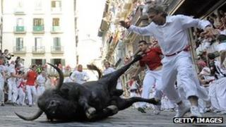 A bull falls in the San Fermin bull run in Spain