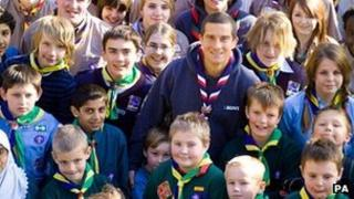 Bear Grylls with scouts