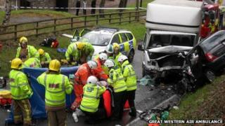 Emergency workers at the accident scene