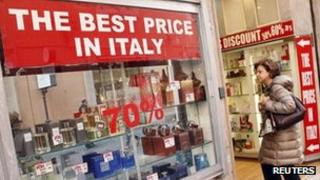 Woman outside perfume shop in Rome