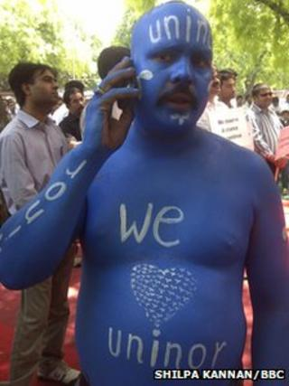 Uninor workers at a protest in Delhi on 18 April 2012