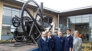 Replica Trevithick locomotive and pupils at Hadley Learning Community