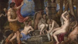 Diana ac Actaeon, 1556-59 gan Titian © Yr Oriel Genedlaethol, Llundain.