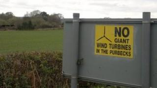 No to giant wind turbine sign
