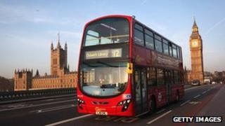 A London bus going over Westminster Bridge